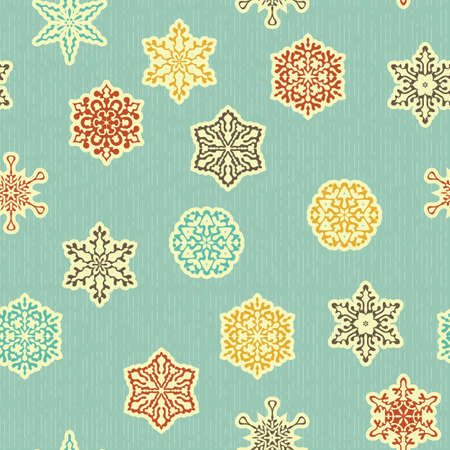 cut paper: seamless pattern with  highly detailed paper cut white snowflakes, fully editable  file with clipping masks, patterns in swatch menu Illustration