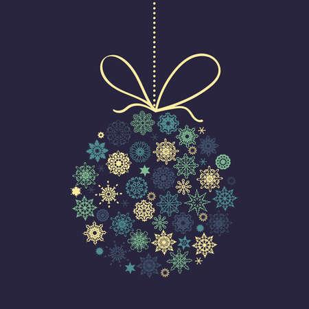 victorian christmas: Christmas Ball with snowflakes