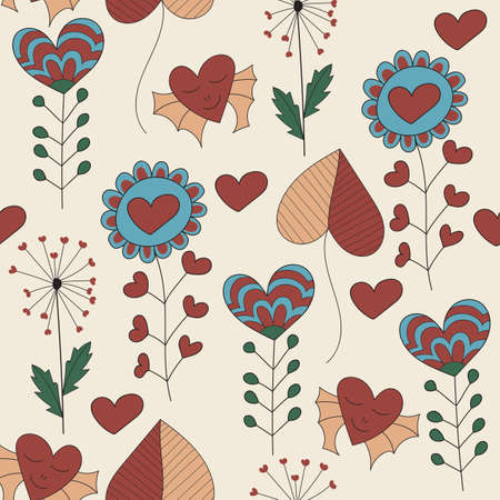 childish: Vector Childish Seamless Pattern with  plants and hearts, seamless pattern in swatch menu Illustration