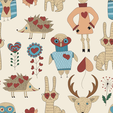 det: Vector Childish Seamless Pattern with animals and plants, seamless pattern in swatch menu Illustration