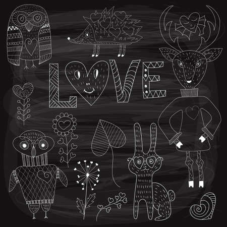 childish: Vector Valentines Day Set with animals and plants,white  chalk on blackboard Illustration