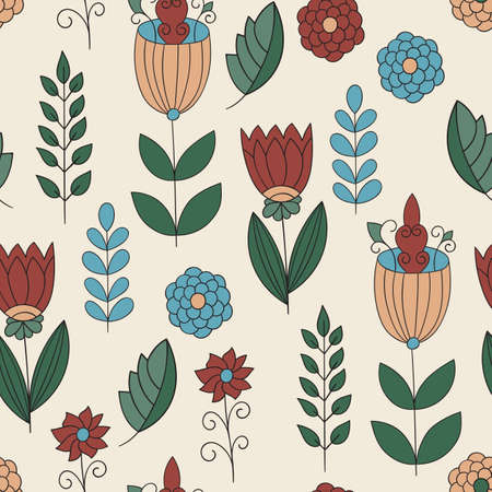 childish: Vector Childish Seamless Floral Pattern Illustration