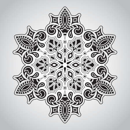 line art: Floral Rounded Mandala Pattern