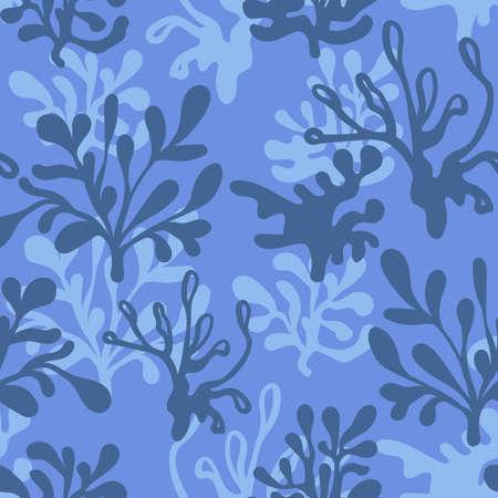 aquatic plant: underwater Seamless Blue Pattern Illustration
