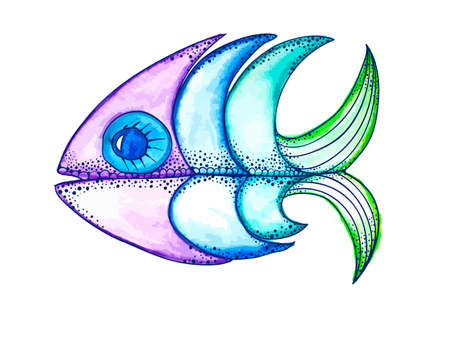 funky: Vector Watercolor Hand Drawn Funky fish