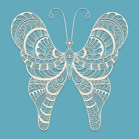 butterfly flower: Lacy Doodle Butterfly on Blue Background