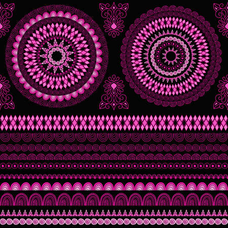separately: seamless ethnic pattern, elements can be used separately