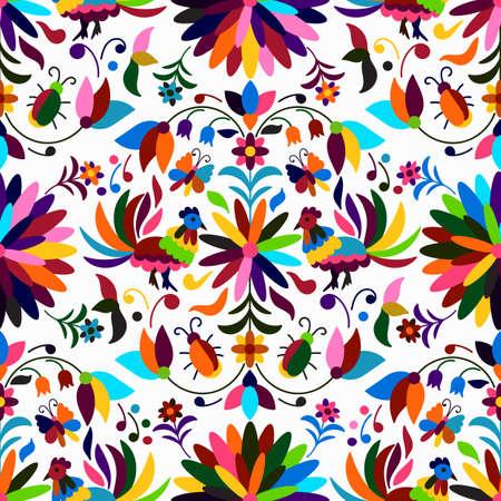 Vector Naadloos Mexicaans Otomi-Stijl Helder Patroon