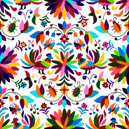 Vector Seamless style mexicain Otomi Motif lumineux Banque d'images - 63022643