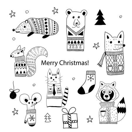 Vector Christmas  Doodle Animals: hedgehog, bear, squirrel, cat, fox, raccoon, and mouse