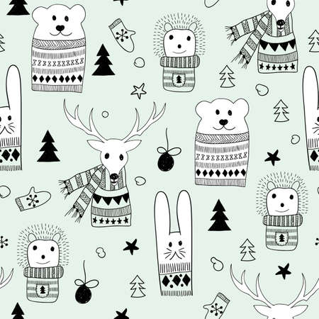 Vector Seamlee Christmas Pattern with Doodle Animals: bunny, deer, hedgehog, and polar bear