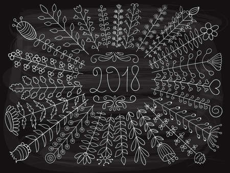 Vector 2018 Floral Greetings on the Chalkboard.