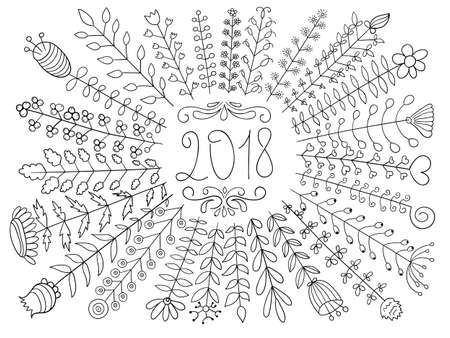 Vector 2018 Floral Greeting.