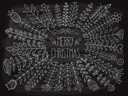 Vector Merry Christmas Greetings on the chalkboard.