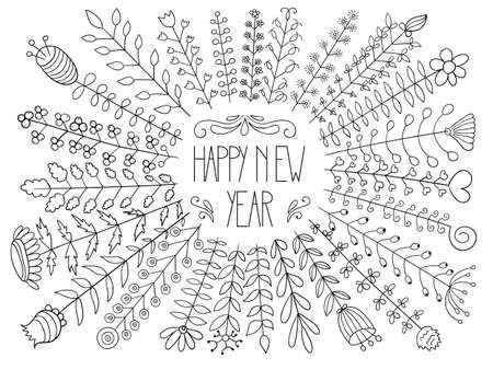 Vector Happy New Year Floral Greeting.