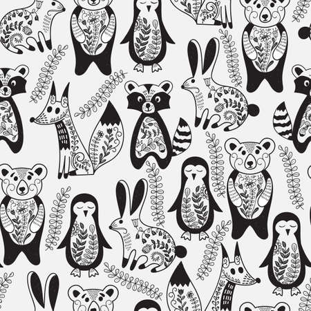 Vector seamless pattern with animals and spring branches. Animals are decorated with floral pattern.