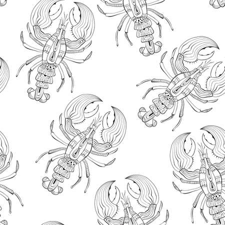 Vector Seamless Pattern with Lobsters. Retro vintage style. Vettoriali