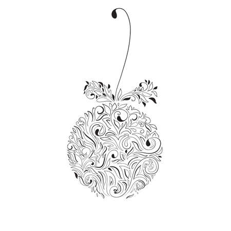 Vector Christmas Tree Ball Decoration. Retro and vintage style. Hand Drawn