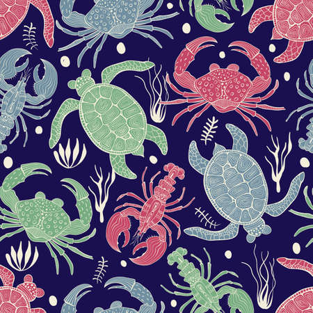 Colorful pattern with turtles, crabs and lobsters retro vintage style.