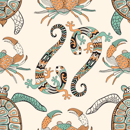 Vector seamless pattern with lizards, turtles, and crabs. Retro vintage style.