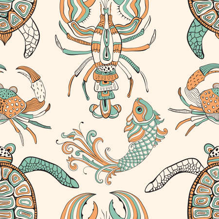Vector seamless pattern with turtles, crabs, lobsters, and fishes. Retro vintage style. Stock Illustratie