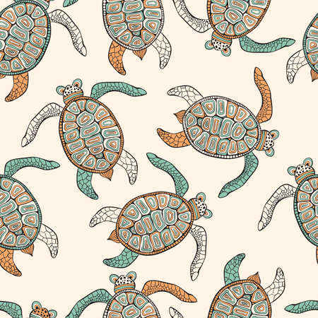 Vector Seamless Ethnic Pattern with Turtles . Retro vintage style.