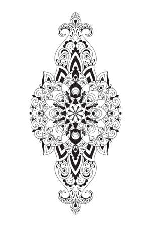 Vector Paisley design element. Tattoo Template. Ethnic Style
