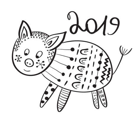 Vector 2019 New Year Greeting Card with Pig.  Hand drawn doodle style Illustration