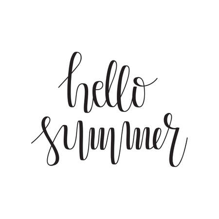 Vector Hello Summer Hand Lettering. Modern Hand Drawn Calligraphy