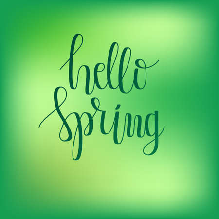 Vector Hello Spring Hand Lettering. Modern Hand Drawn Calligraphy  イラスト・ベクター素材
