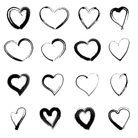 Vector 16 Grunge Heart Collection. Hand drawn. Grunge dry brush style.