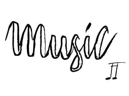 Vector grungy music lettering. Hand written script