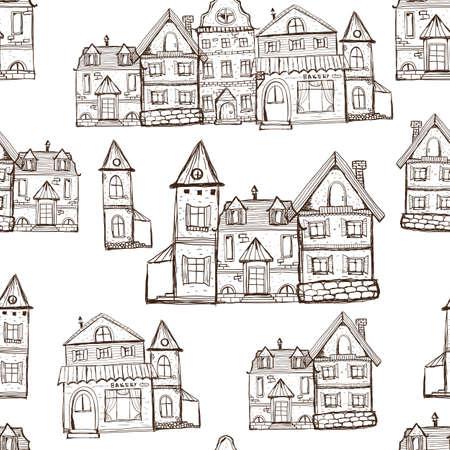 Reticolo senza giunte della pagina di coloritura di vettore con le vecchie case. Sfondo del villaggio medievale