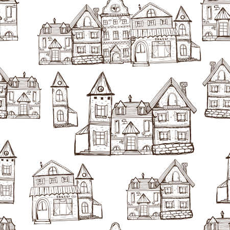 Vector Seamless Coloring Page Pattern with old houses. Medival village background
