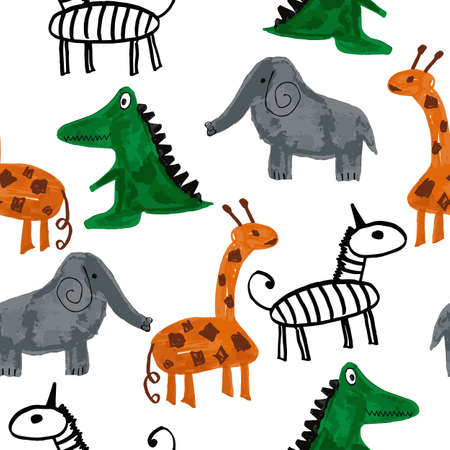 Vector Seamless Pattern with Cartoon Elephants, Zebras, Giraffes,and Crocodiles. Original design for children.