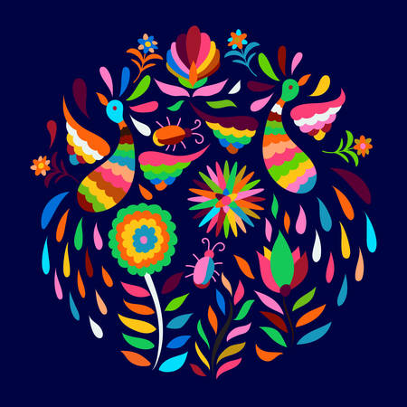 Vector Circle Mexican Otomi Style Bright Pattern. Bright animals on dark blue night background. Illustration