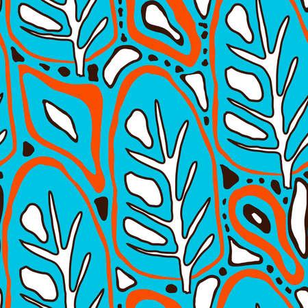 Vector floral tropical seamless Pattern. Scandinavian style. Summer bright design Vector Illustration