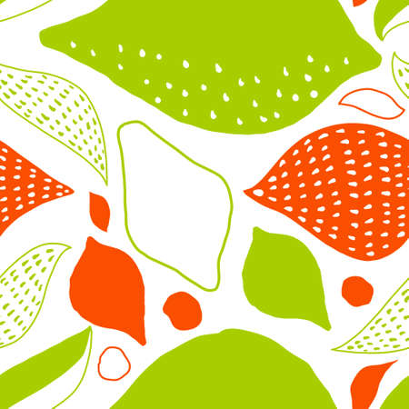 Vector tropical seamless Pattern with lemons. Scandinavian style. Summer desugn