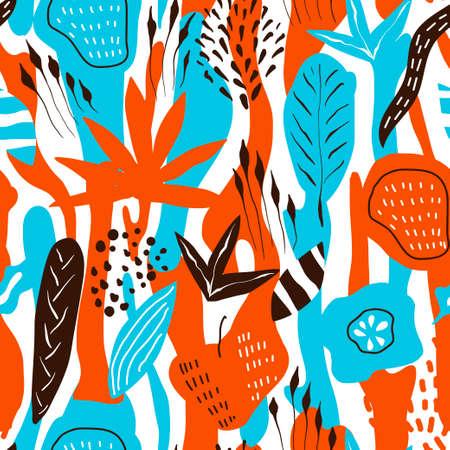 Vector floral tropical seamless Pattern. Scandinavian style. Summer bright design