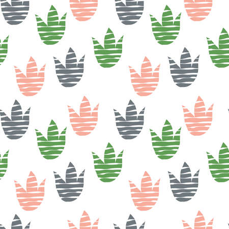 Abstract Floral Pattern with Tulips. Scandinavian Style. Bright Summer Design