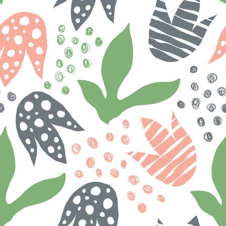 Abstract Floral Pattern. Scandinavian Style. Bright Summer Design Illusztráció
