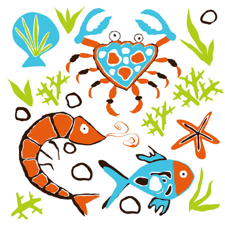 Underwater Pattern with crabs, shrimps, sea stars and fish. Scandinavian naive style.