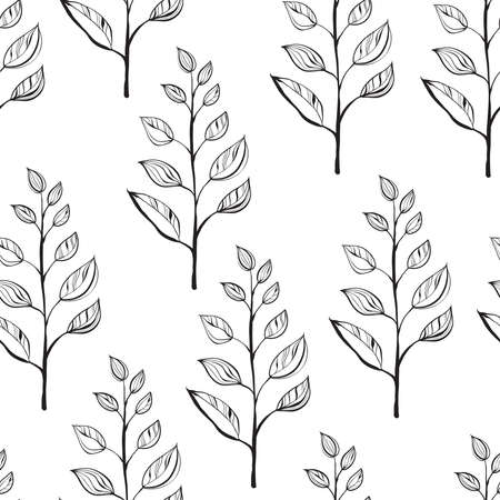 Vector Seamless Abstract Floral Pattern. Scandinavian Style. Monochromatic Illustration