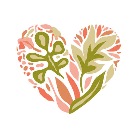 Vector Love Composition with  heart and floral pattern