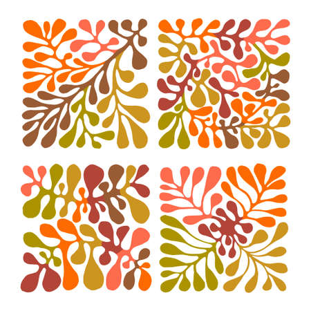 Vector Autumn set of 4 Floral Patterns. Hand drawn traditional Mexican otomi style pattern