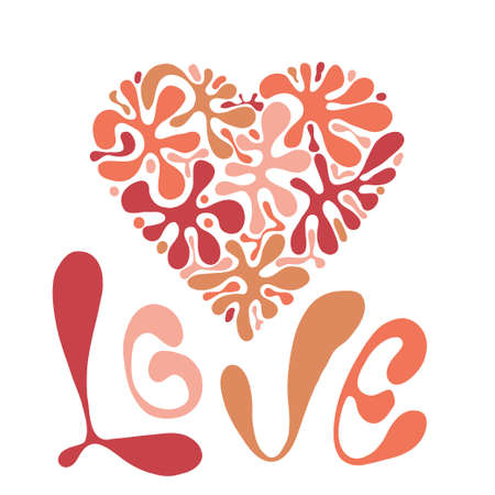 Vector Love Composition with  heart and floral pattern and Love Lettering
