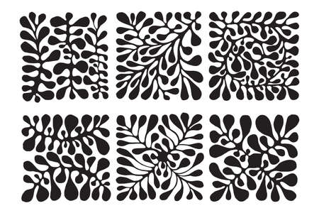 Vector 6 Floral Patterns. Hand drawn by ink and brush. Japanese style Çizim