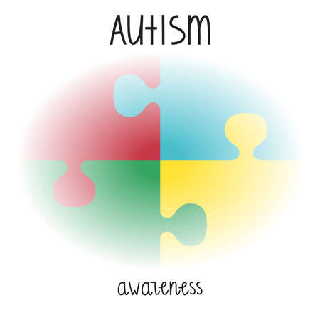 Autism Awareness Print. puzzle with hand lettering