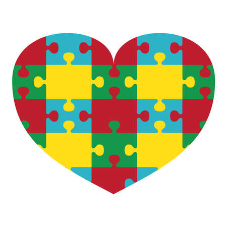 Autism Awareness Print. Puzzle Heart 向量圖像
