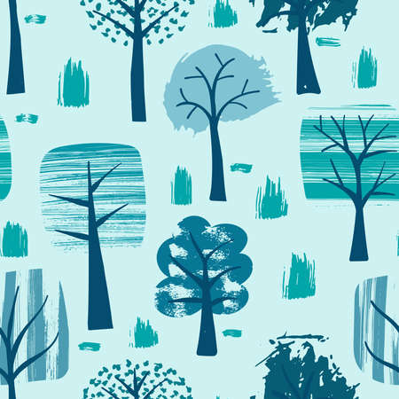 Vector Seamless Winter Pattern with Trees Covered with Snow. Scandinavian Naive Style.